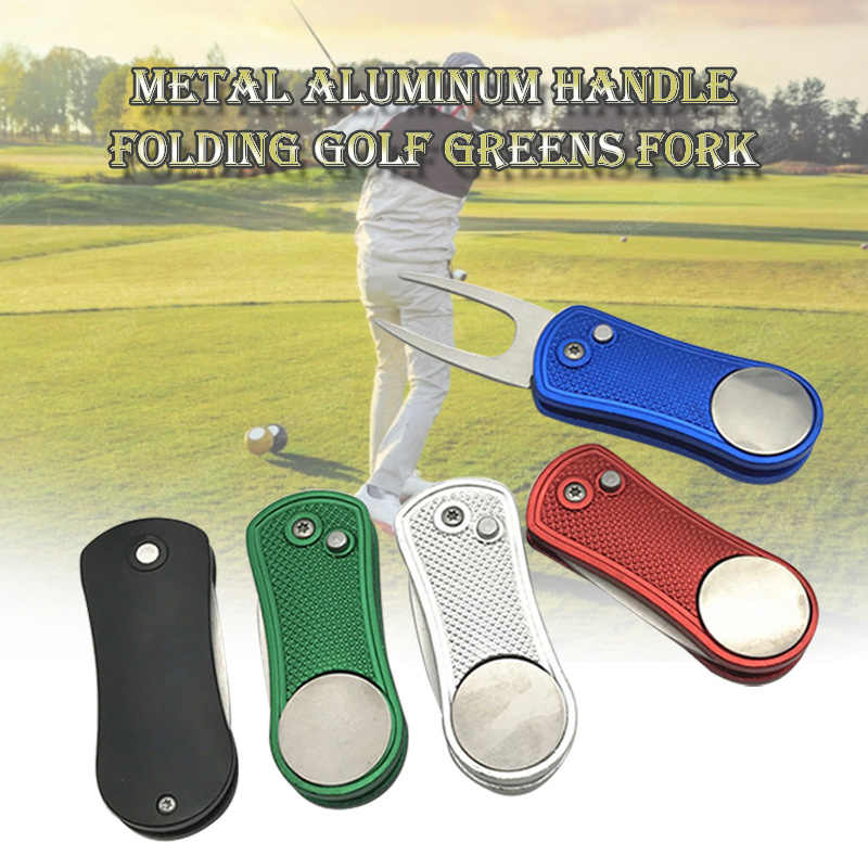 2019 Newly Divot Fork Tool with Button Magnetic Ball Marker Portable Foldable for Golf Club Ball 19ing