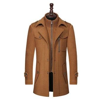 Nowy zimowy płaszcz z wełny dopasowane kurtki modna odzież wierzchnia ciepłe męskie casualowa kurtka płaszcz dwurzędowa kurtka marynarska Plus rozmiar M-XXXL