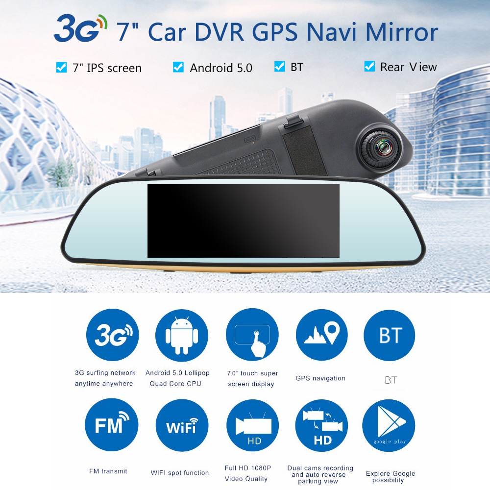 KKMOON 7 1080P Car DVR Mirror Camera Android 5.0 BT 3G wifi GPS Video Recorder Dual Camera Registrar Rear View Dvrs Dash cam dual dash camera car dvr with gps car dvrs car camera dvr video recorder dash cam dashboard full hd 720p portable recorder dvrs