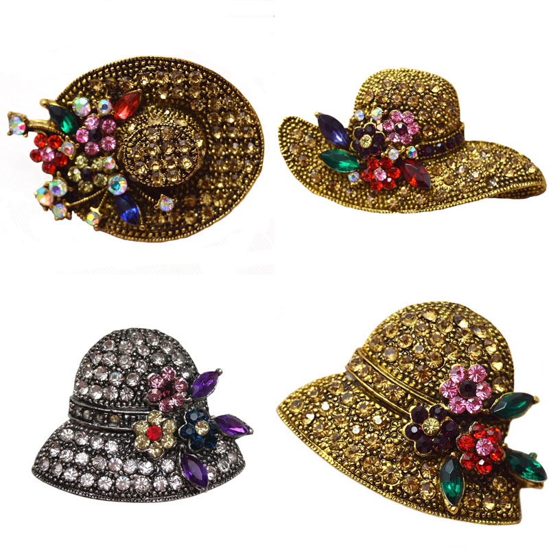 Ustar Fashion Hat Brooches For Women Pins Gold Color Blue: CINDY XIANG Vintage Rhinestone Hat Brooches For Women