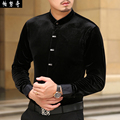 Spring and autumn men's clothing gold velvet long-sleeve shirt chinese style stand collar print tang suit casual shirt