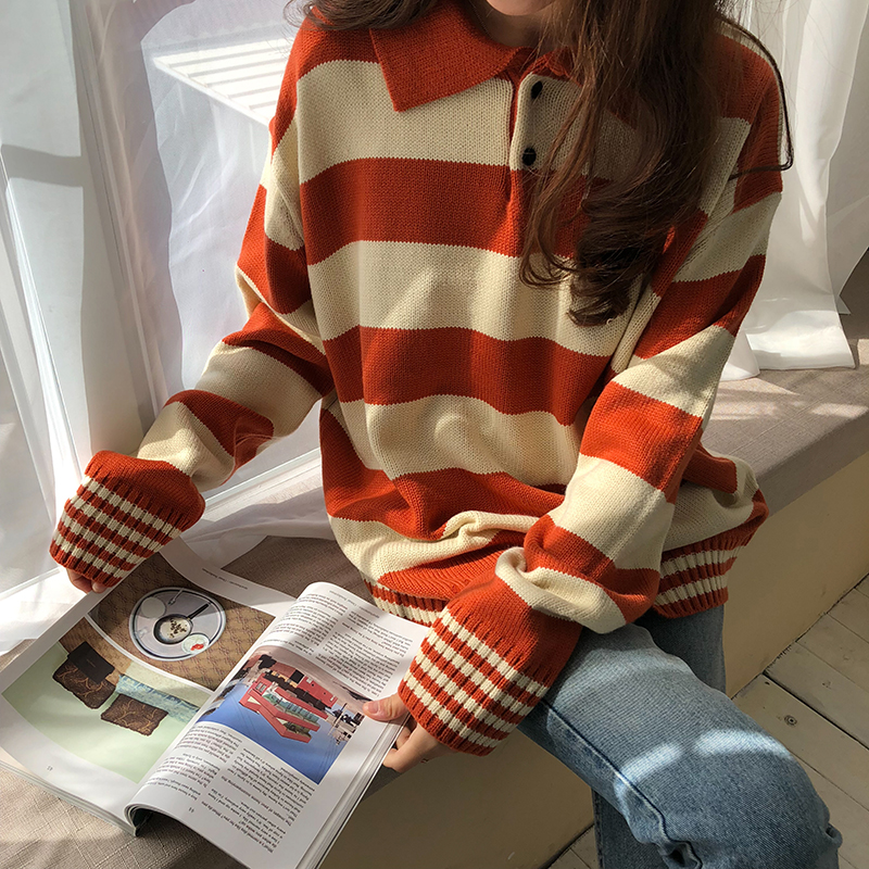 Harajuku Institute Wind Hit Color Stripe Sweaters Women Autumn Casual Turn-down Collar Knit Sweater Female Loose Pullovers