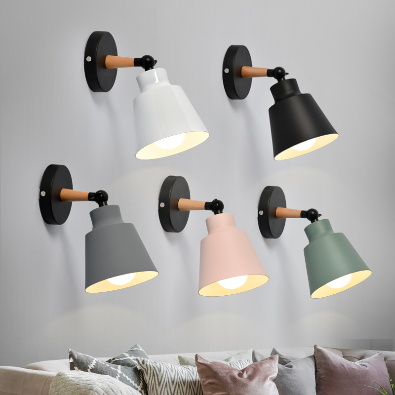 <font><b>Nordic</b></font> <font><b>Wood</b></font> <font><b>Wall</b></font> Lights Bedroom Beside LED Lights Macaroon Modern E27 <font><b>Wall</b></font> <font><b>Lamps</b></font> LED Restaurant Bar Lighting image