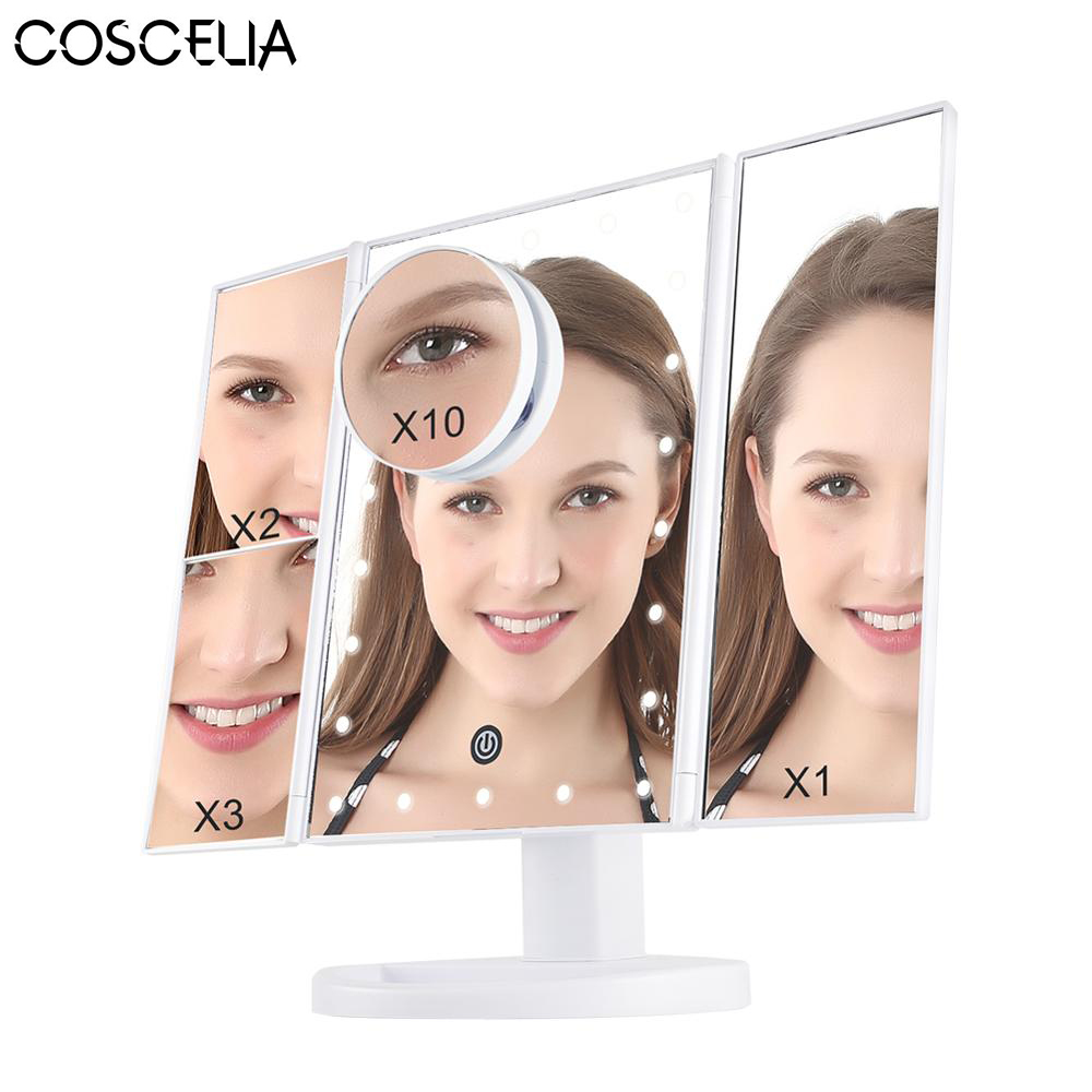 COSCELIA Makeup mirror Foldable LED Professional Lighted With Adjustable LED Light 22 Touch Screen Mirrors For Beauty MakeupCOSCELIA Makeup mirror Foldable LED Professional Lighted With Adjustable LED Light 22 Touch Screen Mirrors For Beauty Makeup