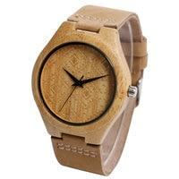 Creative Men Analog Rhombus Carving Hot Bamboo Genuine Leather Band Strap Nature Wood Wrist Watch Modern