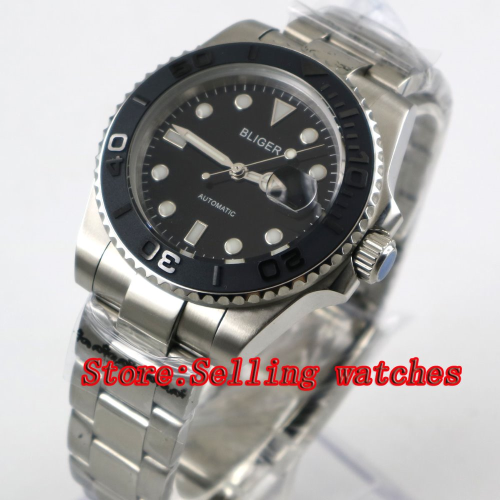 40mm Bliger black Dial ceramic bezel Stainless Steel Strap Sapphire Glass Automatic Movement Men's Mechanical Wristwatches p059 44mm bliger gray dial blue ceramic bezel sapphire crystal automatic movement men s mechanical wristwatches