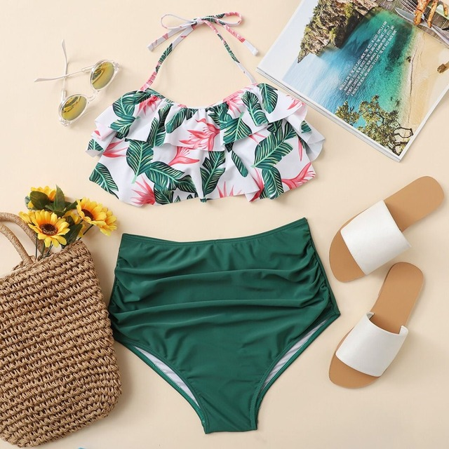 Romwe Sport Jungle Print High Waist Bikini Set 2018 New Summer Multicolor  Tropical Swimsuit Ruffle Beach 1a6d96c54944