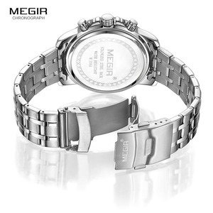 Image 5 - Megir Mens Chronograph Quartz Watches Stainless Steel Analogue Wristwatch for Man 24 hour Display Waterproof Luminous 2068G 1