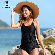 Attraco Women Tankini Set Swimsuit Push Up Swimwear Bandage Vintage Bathing Suit Beachwear Bikini