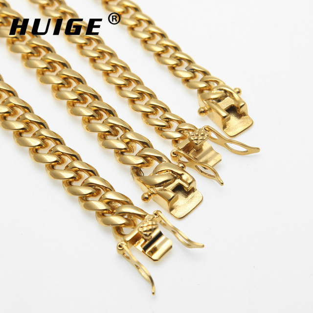 8mm/10mm/12mm/14mm Stainless Steel Curb Cuban Link Chain Hip Hop Punk Heavy Gold Silver Plated Cuban Necklace For Men