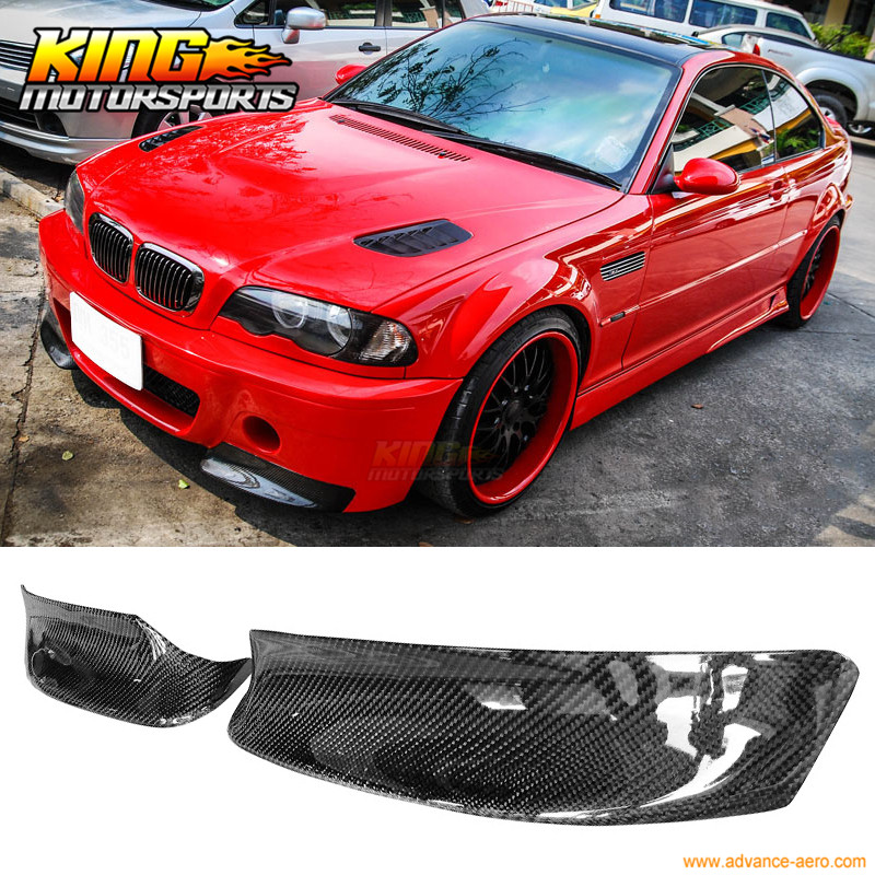 For 2001-2006 BMW E46 M3 Only CSL Style Front Bumper Lip Splitter 2PC - Carbon Fiber