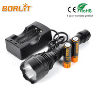 BORUIT Top Super Bright Searching Flashlight Rechargeable Searching Light S58 XHP70 LED Max 400m Waterproof IPX