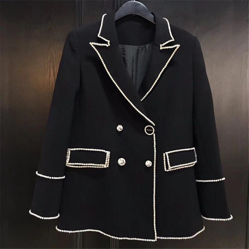 Pour Veste Manches Haute Lady Longues Qualité 2018 Nouvelles Collar Élégant down Femmes Manteaux Noir Turn d5qwx8tdB