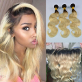 Blonde Bundles With Frontal Ombre 1b/613 Lace Frontal With Peruvian Body Wave Hair Bundles 3pcs Dark Root Blonde Ombre Frontal