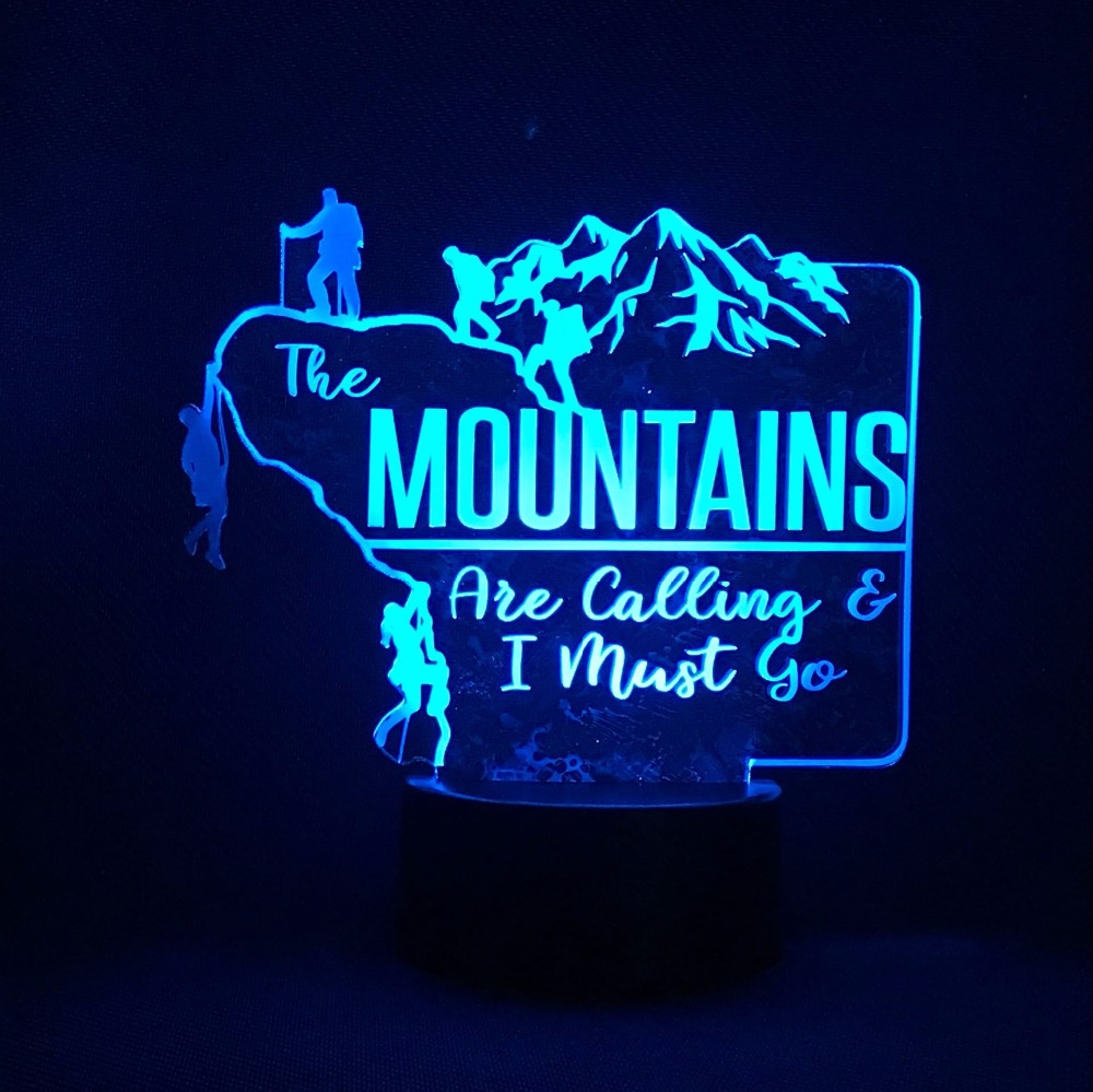 Bedroom Decor 3D Led Acrylic Lighting Fixture Gifts Hiker Outdoor Climbers Modelling Night Lights 7 Colorful Mountains Desk Lamp