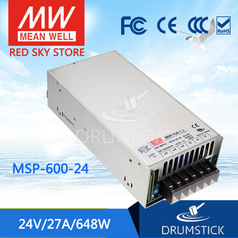 Selling Hot MEAN WELL MSP-600-24 24V 27A meanwell MSP-600 24V 648W Single Output Medical Type Power Supply mean well original msp 100 24 24v 4 5a meanwell msp 100 24v 108w single output medical type power supply