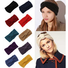 Winter Warmer Ear Knitted Headband Turban Women Lady Crochet Bow Knot Soft Stretch Hairband Headwrap Girls Hair Accessories(China)
