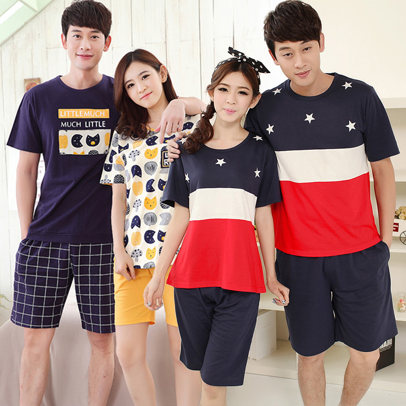 Couples Cute Cartoon Short Sleeve   Pajamas     Sets   for Women 2019 Summer Thin Cotton Shorts Sleepwear Suit Men Homewear Pijama Mujer