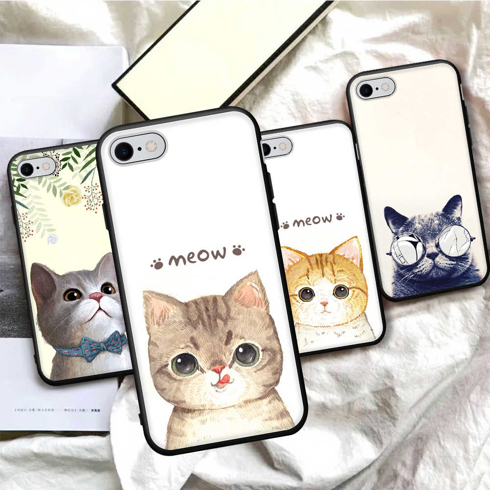 Siliocne TPU Phone Cover Case For iPhone X 7 8 6s 6 Plus XS 5 5S SE Cute Cartoon Cats Painted Cover For iPhone XS Max XR Capa