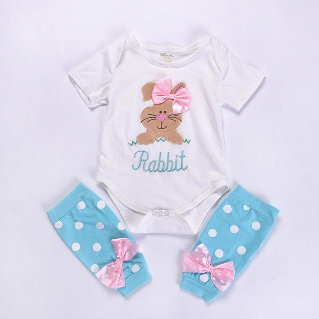 Coelhinho Da Páscoa feliz Do Bebê Do Algodão Romper Macacão para Recém-nascidos Conjuntos de Roupas de Bebê Da Menina do Menino Roupas de Verão Roupa Infantil Bodysuit