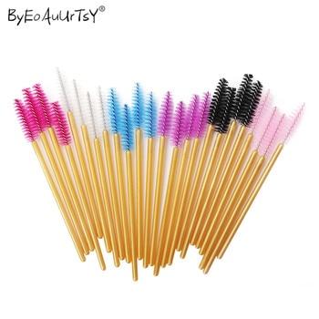 100pcs/Set Women's Fashion Disposable Eyelash Extension Supply Mascara Brush Wand Eyebrow Comb Brushes Spoolers Makeup Tool