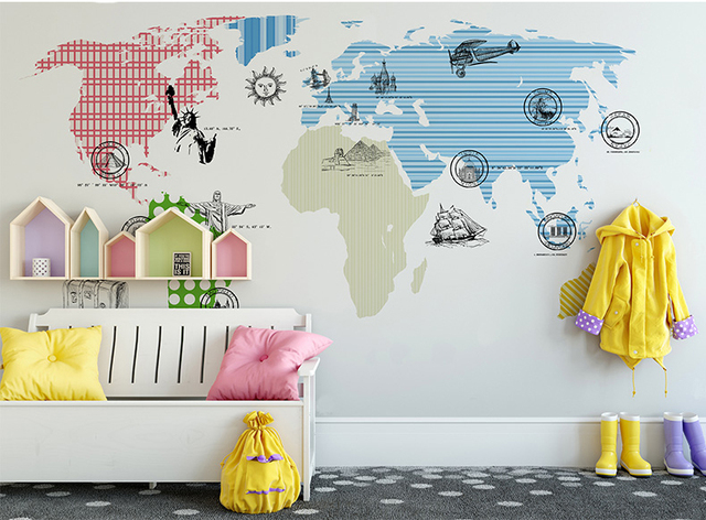 World Map Wall Stickers Wall Mural For Kids Room 3d Cartoon Statue
