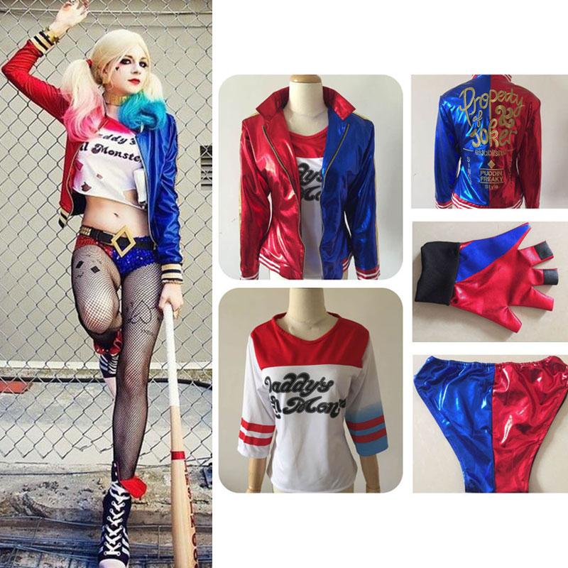 Suicide Squad Harley Quinn Uniform Cosplay Costumes Jacket T-shirt Shorts Glove Movie Batman Joker Women Halloween Costume