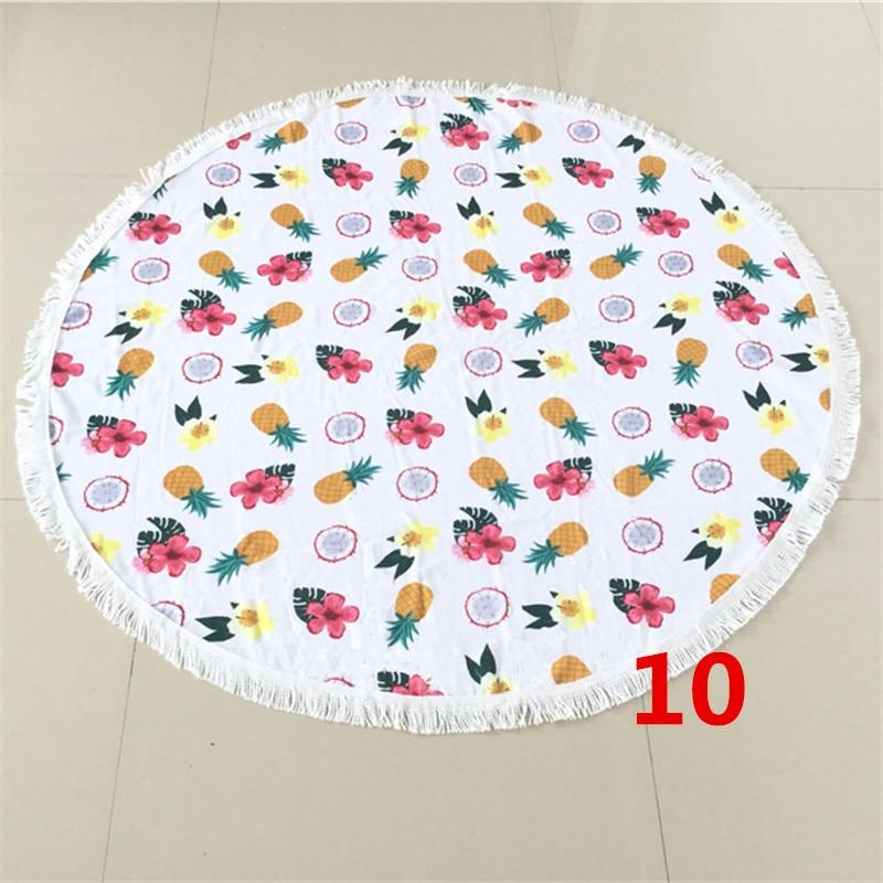 Fruit pattern Microfiber Round Beach Towel 150cm Bath Towels Tassel Printing Sunbath Baby Blanket Free shipping