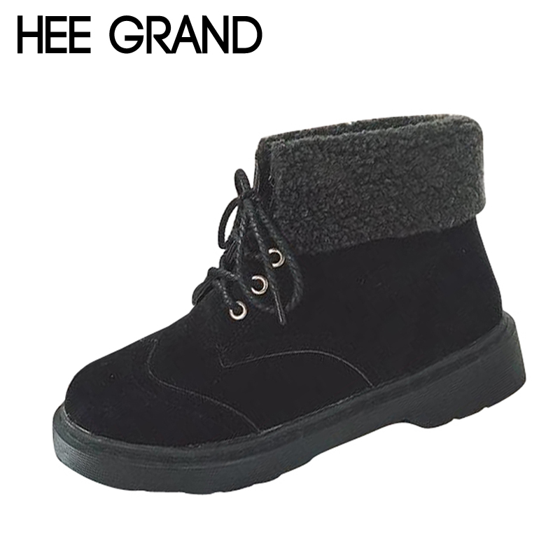 HEE GRAND Faux Fur with Ankle Boots Women Lace-up Leisure Shoes Easy Collocation Women Autumn and Winter Worker Boots  XWX6485