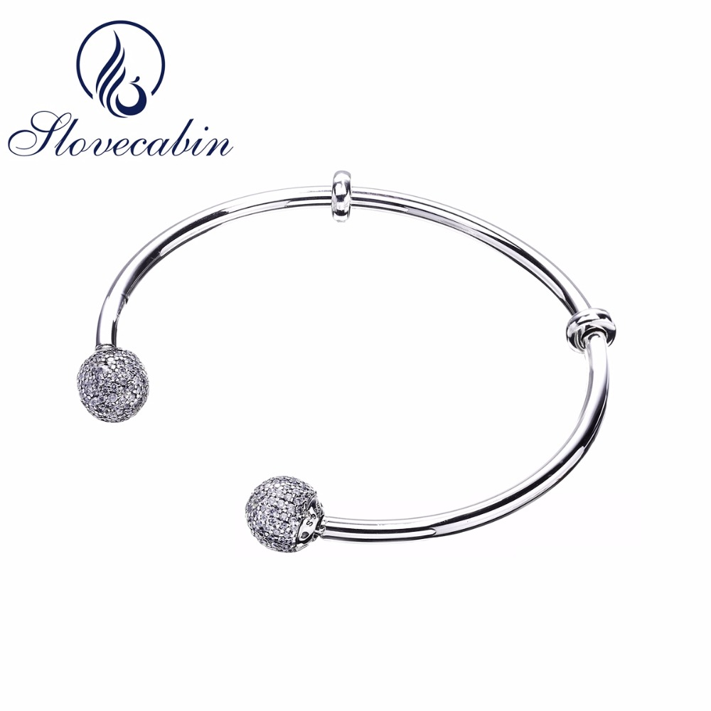 Slovecabin 2017 New Unique Moment Open Bangle Bracelet For Women 925 Sterling Silver Pave Stone Open Bangle For Bead DIY Jewelry slovecabin 2017 new unique moment open bangle bracelet for women 925 sterling silver pave stone open bangle for bead diy jewelry