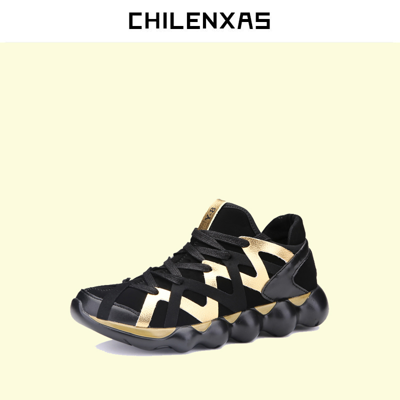 CHILENXAS Spring Autumn Leather Shoes Men Casual Lace-up Breathable Comfortable Massage Light Gingham Suede Height Increasing klywoo new white fasion shoes men casual shoes spring men driving shoes leather breathable comfortable lace up zapatos hombre
