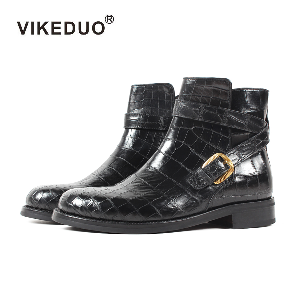 2018 Vikeduo Classics Crocodile Retro Mens Boots Custom Handmade Winter Fashion Luxury Office Genuine Leather Original Design vikeduo 2018 classic custom handmade fashion luxury office genuine leather boots designer winter snow crocodile dress men boots