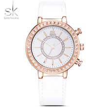 SHENGK 2017 New Style Women Leather-based Crystal Diamond Rhinestone Watches Girls Magnificence Gown Quartz Wristwatch Hours Reloj Mujer