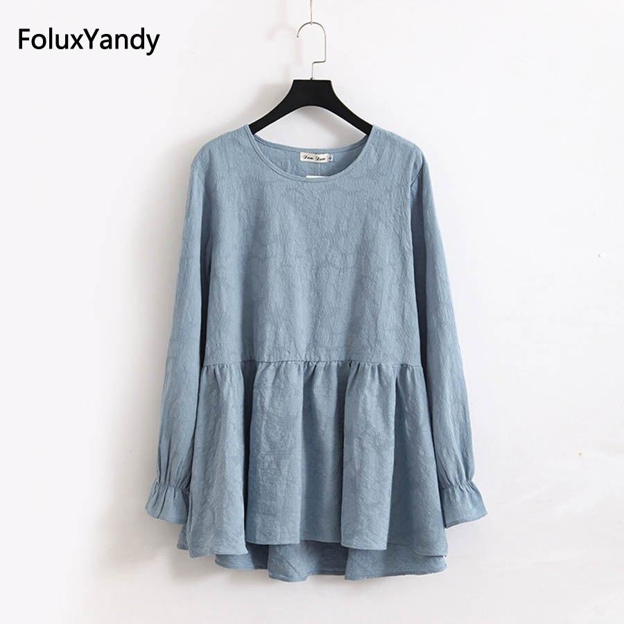 2018 Loose Flare Sleeve Blouse Woman Casual O-neck Pleated Long KKFY1225