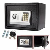 Black Steel Digital Electronic Coded Lock Home Office Safe Box + Override Key