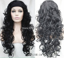 Ladies sexy  Half wig 3/4 wigs With headband Long Curly black half wig Heat Resistant Hair Wigs FREE SHIPPING цена
