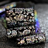 100 Meters Nail Art Foil Wholesale Sparkly Rose Flower Holographic Silver Nail Foil Sticker Black Base