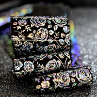 100 Meters Nail Art Foil Wholesale Sparkly Rose Flower Holographic Silver Nail Foil Sticker Black Base