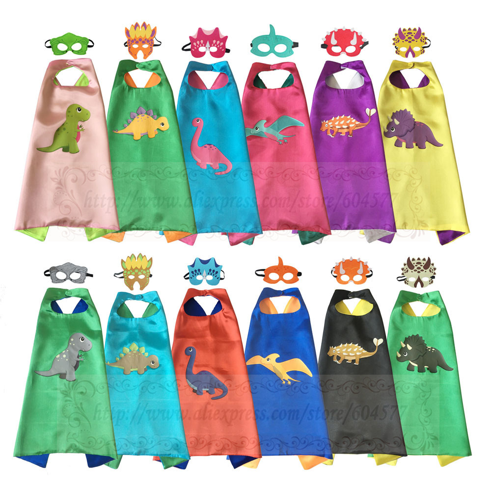 Dinosaur Costumes Cape With Masks For Kids Birthday Party Halloween Dino Costume Tyrannosaurus Stegosaurus Pterosaur Cosplay