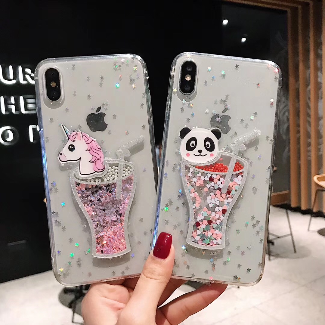 Glitter Liquid Dynamic Case For iPhone X XS Max XR Case Unicorn Panda Cute Cartoon Cases For iPhone 7 Plus 6 6S 8 Plus Cover in Fitted Cases from Cellphones Telecommunications
