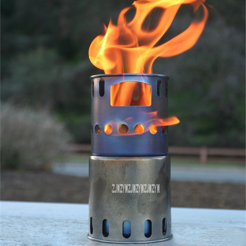 STV-11 Portable Outdoor Backpacking Wood Burning Stove+Well Subrack (Stainless Steel) Ultra-light Titanium Fireplace Burners