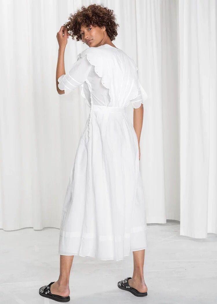 Kadın Giyim'ten Elbiseler'de 2019 Yeni Kadın Pamuk Beyaz uzun elbise Kısa Kollu Nakış Fırfır Yaz Taze Midi Elbise'da  Grup 2