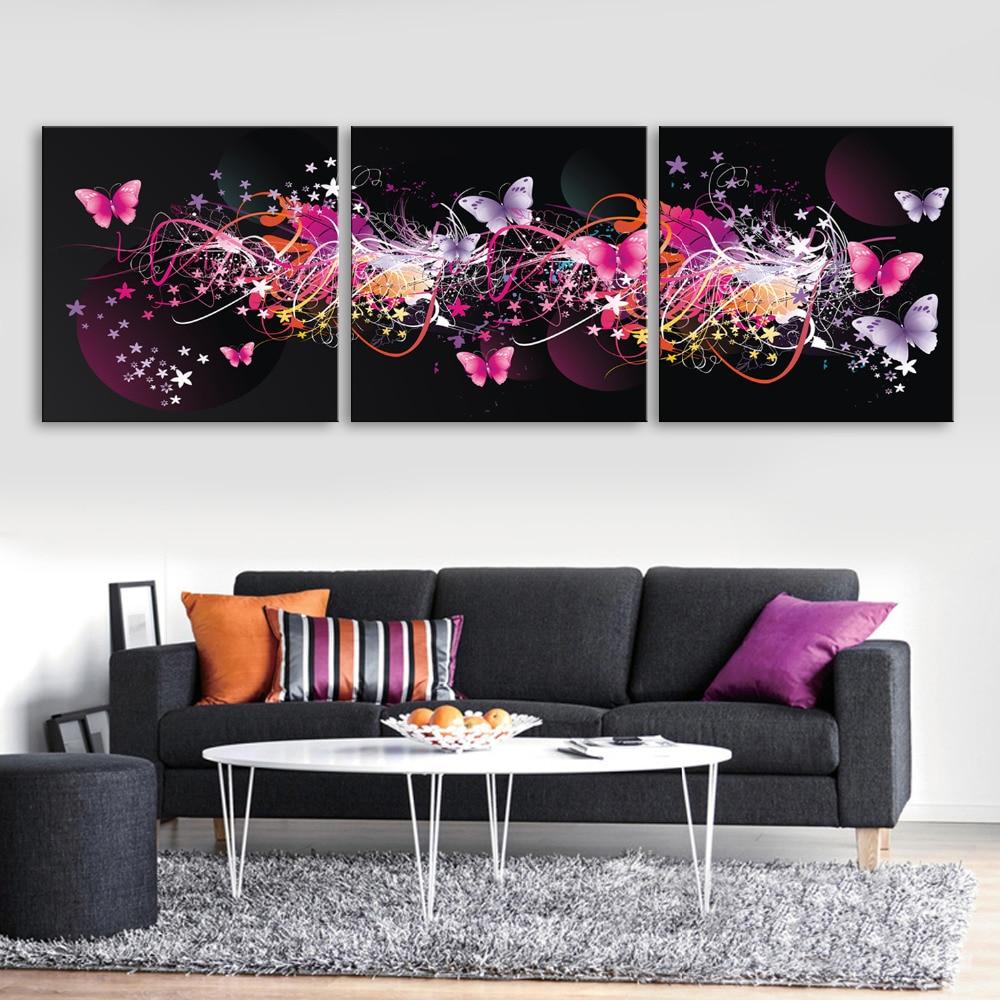 Doprava zdarma Protahované plátno tiskne zářící motýlkový efekt LED blikající optický vlákno tisk LED nástěnné umění LED dekorace