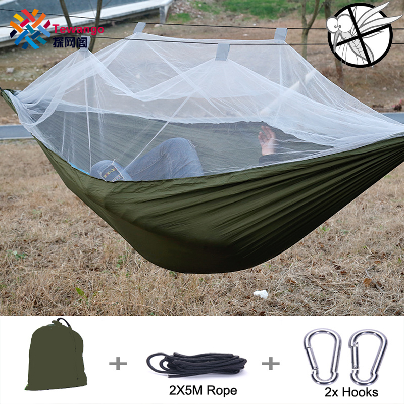 Tewango Portable Outdoor Camping Mosquito Net Nylon Hammock Hanging Bed Sleeping Swing Load bearing 300KG 2017 portable nylon garden outdoor camping travel furniture mesh hammock swing sleeping bed nylon hang mesh net