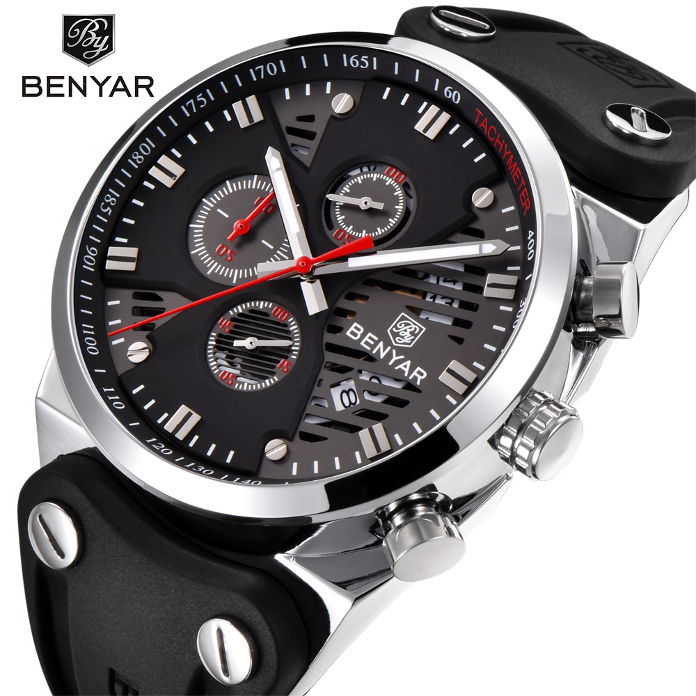BENYAR 2018 New Skeleton Calendar Men's Watches Chronograph Real Three Dial Waterproof 30M Outdoor Hollow Sports Watch white red