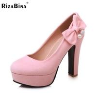 Rizabina ורוד bowtie משאבות עקב גבוה לנשים הפלטפורמה ממתקי אישה נעלי אופנה להחליק על גודל נעלי נשים גביש חלום 32-43