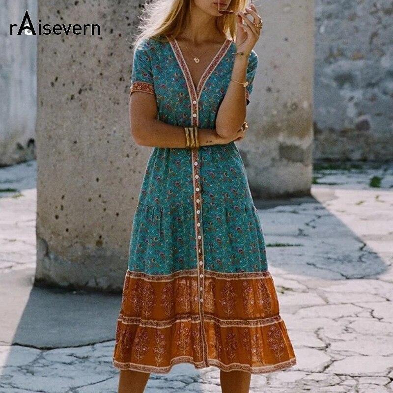 Boho Lose Kleid Sommer Stil Folk Floral Drucken Tropical Urlaub Strand Kleid V-ausschnitt Kurzarm Sommerkleid Plus Größe 5XL Dropship