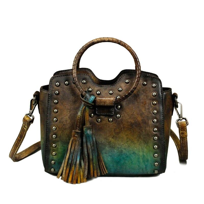 Fringe Tassel Unique Designer Genuine Leather Vintage Round Handle Women  Small Rivets Handbag Cowhide Female Studs Shoulder Bag -in Shoulder Bags  from ...