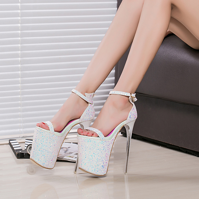 20cm pink pumps shoes high heel 20cm thin heel sandals shoes 9cm plarform shoes  peep toe party heels silver high heels plus size-in Women s Pumps from Shoes  ... 8b766f266395