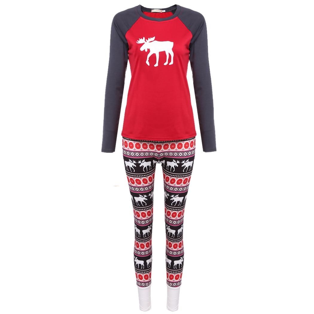 Christmas Pajamas Womens Sleepwear 2017 Print Classical Animal Pattern Tops With Long Pants Pajama Sets Tracksuit Two Piece Set